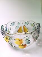 """Crystal Glass Vintage Fruit Bowl Candy Dish Decorated Fruit Scalloped Edge 5"""""""