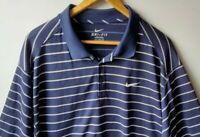 Nike Dri Fit Mens Blue White Striped Polo Shirt 2XL