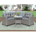 4pcs Rattan Furniture Set Outdoor Patio Garden Sectional Pe Wicker Cushion Sofa