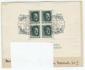 Deutsches Reich  Brief 1937 Mi. 650 Block 11 gestempelt Nürnberg