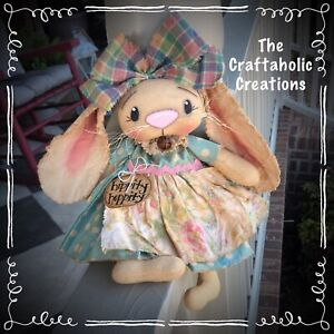 * primitive raggedy BUNNY girl doll * RABBIT plaid floral bunny Spring EASTER