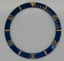 BEZEL INSERT FITS/FOR ROLEX SUBMARINER WATCH BLUE GOLD CASES 16613 16618 16803