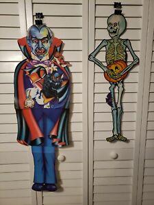 1980's Jointed Halloween Monsters Skeleton Creepy Vampire Clown cut out die cut