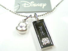 AUTH DISNEY WINNIE THE POOH BEAR & TAG STERLING PLATINUM CLAD PENDANT NECKLACE
