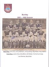 BURNLEY 1951-1952 RARE ORIGINAL HAND SIGNED TEAM GROUP X 9 SIGNATURES