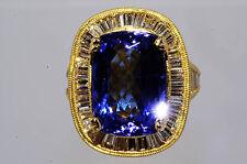 "$17,580 9.17Ct Natural ""AAA"" Tanzanite & Diamond Ring Size 5 18K"