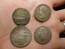 LOT of 5: SPAIN - peseta 1883, 1869, 1891 - 2 peseta 1869