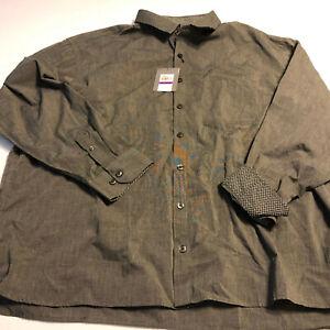 Geoffrey Beene Mens LS Flip Cuff Button Up Black Weave Shirt 2XL 19 - 19.5
