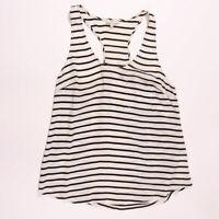 Joie Silk Blue White Racerback Sleeveless Stripe Tank Top Blouse Shirt Medium