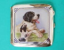 Zigarettenetui  Silber Emaille  Hund mit Welpe   Austria  enamel cigarette case
