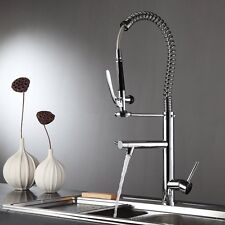 FLG Kitchen Sink Faucet Single Handle Pre Rinse Spring Pull Down Polished Chrome