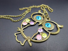 Big Eyed Owl Necklace,Gift Idea,Gold Coloured,Fashion/Costume,Gems,Long Chain,
