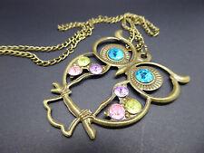 Collana con gufo dagli occhi grandi, idea regalo, color oro, MODA/COSTUME, Gemme, a lunga catena,
