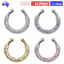 Diamond Fake Clip On Gem Septum Clicker Nose Hanger Ring Piercing Crystal