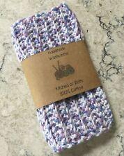 Crocheted Cotton Dish Cloths Wash Cloths Purple Blue Ribbed Texture Handmade