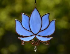 Stained glass blue lotus suncatcher, flower windows hangings decoration