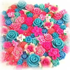 20 Pcs 10mm-24mm 'Bubblegum' Pink & Blue Resin & Clay Flower Cabochons Decoden