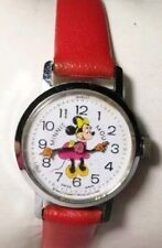 Minnie Mouse Watch Disney Bradley Hand Winding Swiss 1j Red Band Silver Case Vtg