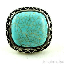 Adjustable Size Square Turquoise Knuckle Ring