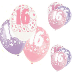 """Age 16th Birthday Balloons Pack of 6, 12"""" Latex Glitz Pink, 2pcs each colour New"""