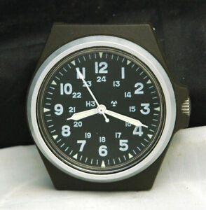 Stocker Yale US MILITARY ISSUED SANDY 184A OLIVE Watch H3 MIL-W-46374D WAR Swiss