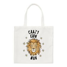 Crazy Lion Man Stars Regular Tote Bag Funny Animal Shopper Shoulder