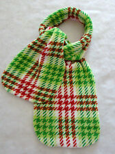"New Plaid Pattern Scarf Red Green White Soft Plush Fabric 62"" Long 8 1/2"" Wide"