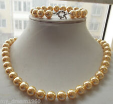 10mm Yellow Gold Akoya South Sea Shell Pearl Jewelry Necklace Bracelet Set BJ05