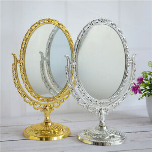 Vintage European Style Desktop 360° Double Sided Oval Makeup-Cosmetic-Mirror