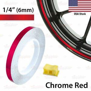 "1/4"" 6mm PIN STRIPE Striping Wheel Rim TAPE Decal Vinyl Sticker CHROME RED US"