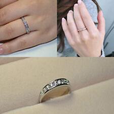 Women Fashion Jewelry Crystal Rhinestone Elegant Silver Plated Engagement Ring
