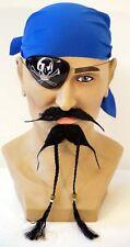 New Pirate Fancy Dress Costume Accessory,Blue Bandanna,Eyepatch,Moustache,Beard