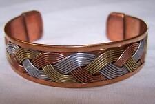SOLID COPPER TRICOLOR CUFFED HEALTH BRACELET men women lady jewelry braclet NEW