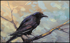 HAWKINS Original Blackbird Crow Raven On Branch Impressionism Oil  Painting  Art