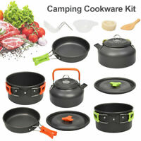 Portable Camping Cook Cooking Cookware Set Anodised Aluminium Pots Pans Kettle.