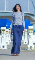 LONG SKIRT - WOMEN SKIRTS - MODEST JEANS - Navy Blue Solid Color | S103