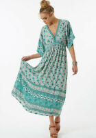 Spell Designs Kombi Folk Maxi Dress Gown Sage- M