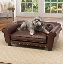 Fancy Dog Bed Raised Medium Tufted Pet Sofa Couch Faux Leather Furniture Cushion