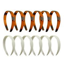 12 Headbands 1 in. Wide Head Band w/Teeth Plastic Hairbands 6 White & 6 Tortoise