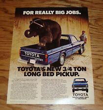Original 1979 Toyota 3/4 Ton Long Bed Pickup Sales Sheet Brochure 79