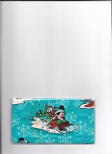 MICKEY MOUSE CHECKBOOK COVER FABRIC SLEDDING with DONALD DUCK WINTER CHRISTMAS