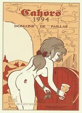 DI SANO Pin-up étiquette de vin sérigraphiée pour 1 CAHORS 94 Domaine de Paillas