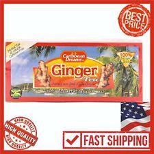 Caribbean Dreams Ginger Tea 24 Tea Bags 100% Ginger Root Herbal Natural Healthy