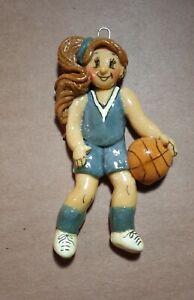 Female Girl Basketball Christmas Dough Ornament Brown Hair Handmade Figurine