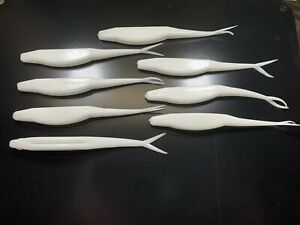 "35ct Lot 5"" Inch solid white pearl soft plastic jerk shad Super Fluke bait lure"