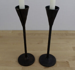 "Lot of 2 Pottery Barn 12"" Rustic Iron Petaluma Taper Candle Holders Candlesticks"