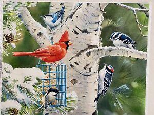"""Cardinal Birds Panel Digital Print Cotton Fabric 36"""" X 45"""""""