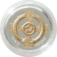 2008 Royal Mint British Irish Celtic Cross £1 One Pound Silver Gold Proof Coin