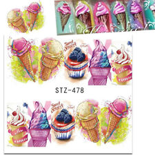 Nail Art Water Decals Transfers Stickers Summer Ice Cream Lolly Candy (478)