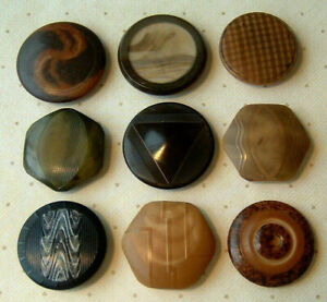 """COLLECTOR LOT OF 9 VINTAGE VEGETABLE IVORY BUTTONS CARVED FINELY ETCHED 1&1-1/8"""""""